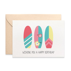 Birthday Card Female, Surfboards Female, Beach Lover Card, HBF173
