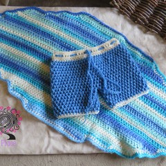 crochet newborn board shorts and mini surfboard blanket