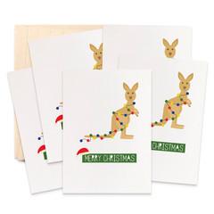 Set of 5 Kangaroo Christmas Cards, Kangaroo with Christmas Lights, 5P021