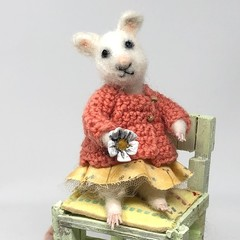Needle felted mouse, Handmade felt rat,  crochet sweater