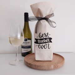 Christmas Wine Gift Bag | Best Teacher Ever | Zero Waste | Free Shipping
