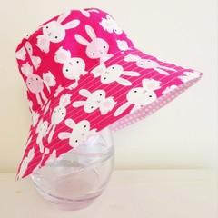 Girls summer hat in cute bunny fabric