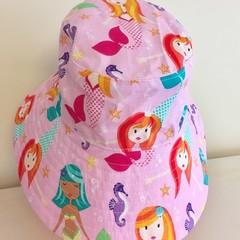 Girls summer hat in cute mermaid fabric