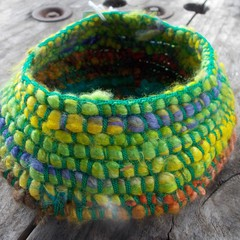 crocheted basket made from silk and vintage rayon. Handmade homeware great gift