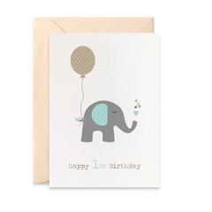 1st Birthday Card Boy, Elephant with Blue Party Balloon, HBC194