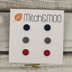 Small STUD PACK - Navy/Grey/Red