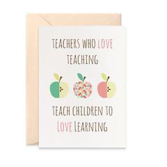 Teacher Card, Teachers Quote with Apples, Teacher Thank You Card, TEA007