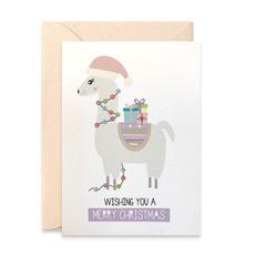 Llama Christmas Card, Llama with Christmas Lights, XMS040