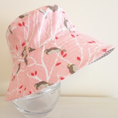 Girls summer hat in birds in a tree fabric