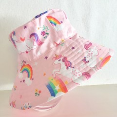 Girls summer hat in rainbows and unicorns fabric