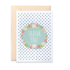 Floral Wreath Thank You Card, THY029