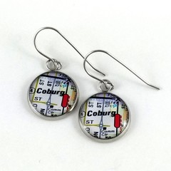 Women's round resin drop earrings, map street directory print town/city/suburb