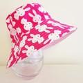 Girls summer hat in cute bunny fabric
