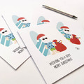 Set of 5 Australian Christmas Cards,  Aussie Santa, 5P022