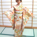 Doll clothes salmon pink kimono set for Barbie dolls, Poppy Parker handmade