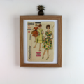 Framed Vintage / Retro Illustrated Fashion Sewing Pattern with Pattern / 3962