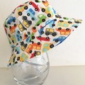 Boys summer hat in bright cars fabric