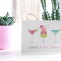 Ladies Birthday Card, Cocktail Card, Summer Drinks Card, Card for Her, HBF156