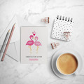 Engagement Card, Flamingos with Love Hearts, Flamingo Card, ENG023