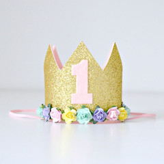 First 1st Birthday Gold Glitter & Pastel Rainbow Flower Crown