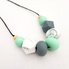 Mint Green and Grey Beaded Necklace