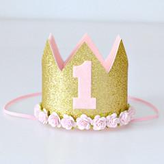 First Birthday Pink & Gold Glitter Mini Flower Crown