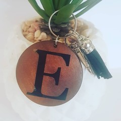 PERSONALISED WOODEN KEYRING WITH TASSEL