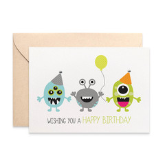 Birthday Card Boy, Party Monsters Card, Cards for Boys, HBC193