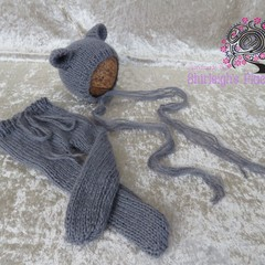 newborn footed leggings with bear bonnet