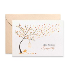 Sympathy Card, With Deepest Sympathy, Orange Autumn Tree, WDS017