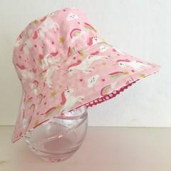 Girls summer hat in dancing unicorn fabric