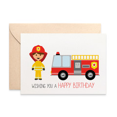Birthday Card Boy, Firefighter and Red Fire Engine Card, HBC240