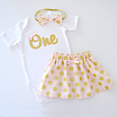 Pink & Gold Polka Dot 1st First Birthday Outfit & Cake Smash Set - Short Sleeve