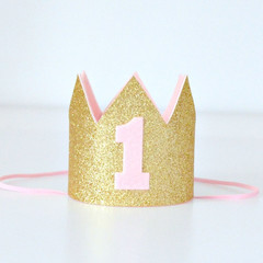 Pink & Gold Glitter First Birthday Mini Crown - 1st Birthday Party or Cake Smash