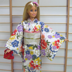 Barbie clothes, Japanese kimono set for Barbie doll and PoppyParker, handmade
