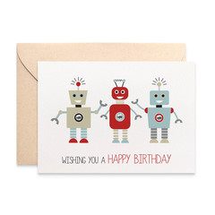 Robots Card, Birthday Card Boy, Robot Birthday Card, HBC192