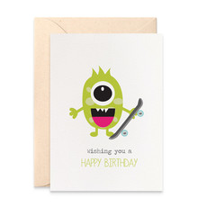 Monster Card, Happy Birthday Boy Card, Monster with Skateboard, HBC214