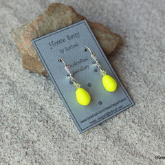 Swarovski Neon Yellow drop pearl, Sterling Silver, earring
