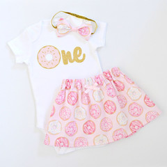 Donut Pink & Gold 1st First Birthday Outfit and Cake Smash Set - Short Sleeve