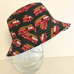 Boys summer hat in fire engine fabric