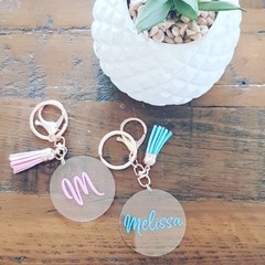 PERSONALISED CLEAR ACRYLIC KEYRING WITH TASSEL - PINK