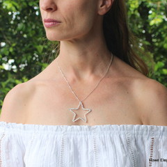 Swarovski AB crystal star, Sterling Silver, necklace