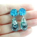 Mini dangles - transparent blue, green & pink with silver flakes