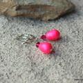Swarovski Neon Pink drop pearl, Sterling Silver, earring