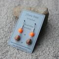 Swarovski Neon Orange pearls, Wood, Sterling Silver, dangle earring