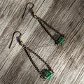 Green Glass Triangle Earrings