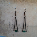 Green Glass Triangle Earrings