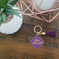 PERSONALISED ENAMEL/METAL KEYRING WITH TASSEL- PURPLE