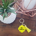 PERSONALISED ENAMEL/METAL KEYRING WITH TASSEL- YELLOW