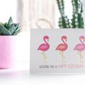 Flamingo Birthday Card, Women's Birthday Card, HBF152